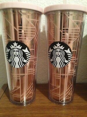 2017 Starbucks Rose Gold Pink Linework Geo Cold Cup Venti 24 oz