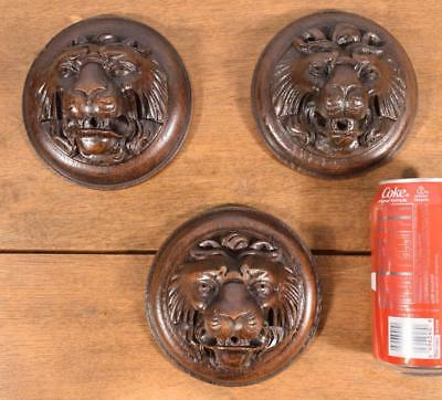Set of 3 French Antique Hand Carved Oak Wood Lion Heads/Corbels/Medallions/Trim