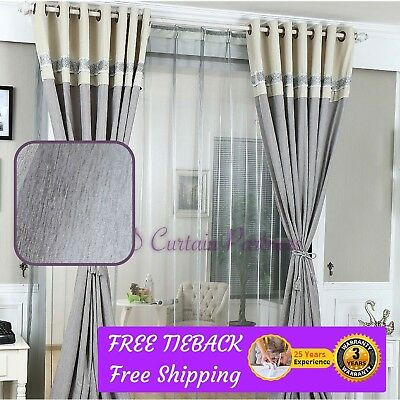 BLOCKOUT GREY GRAY Fabric Valance Drapes Sheer Eyelet Rod ...