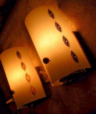 Wow! 1 Pair Matching Mcm Vtg Art Deco Wall Sconce Half Cylinder Shade
