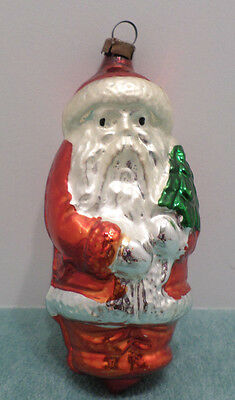 Antique Mercury Glass Christmas Tree Ornament Santa Claus holding a Tree Germany