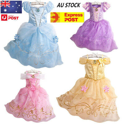 AU  Princess Dress Belle & Cinderella Costume Girls Kids Party Fancy Dress
