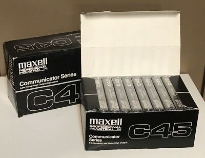 NOS Maxell C45 C-45 Blank Audio Cassette Tapes Lot of 19 Unopened Tapes