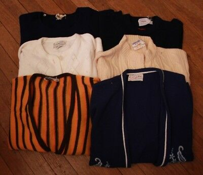 Lot of Vintage Sweaters 60s 70s Wool Pullover Cardigan