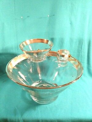 VTG Mid Century CHIP & DIP STAND Glass & Silver Atomic Mad Men Dorothy Thorpe