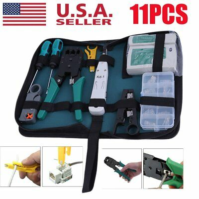 Network Ethernet LAN Kit RJ45 Cat5e Cat6 Cable Tester Crimper Crimping Tool Set@