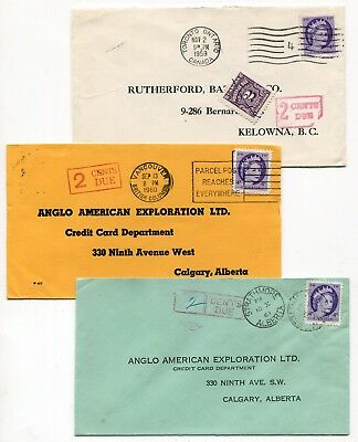 Canada QEII Wilding Issue 1959 - 1961 Group of Three Postage Due Covers -