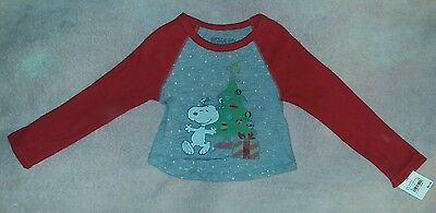 823548815aaa30 NEW PEANUTS Snoopy 12 Month Baby Toddler Boy Long-Sleeve Christmas T-Shirt