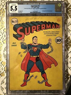 Superman #11 CGC 5.5 FN- Comic Book 7-8/1941