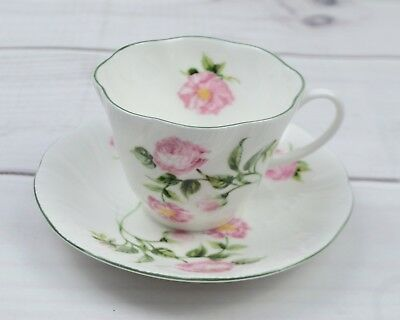 The National Trust Mottisfont Roses Teacup and Saucer Rosina Green Trim Floral