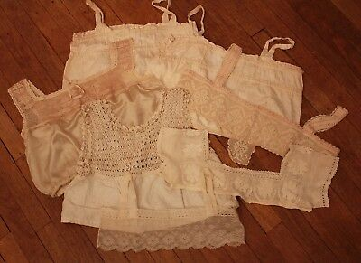 Lot Antique Victorian Era Clothing Lace Trim Crocheted Nightgown Tops Camisole