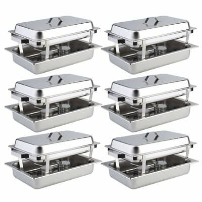 6 Pack Catering Stainless Steel Chafer Chafing Dish Sets 8Qt Full Size Buffet Bg