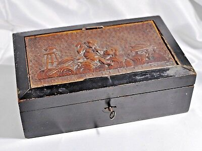 Antique Victorian Wooden Box Silk Lined Embossed Leather Picture on Top Lock/Key