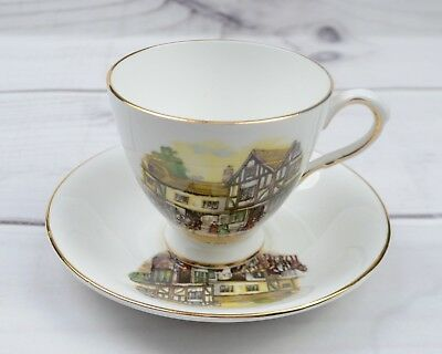 Vintage Rosina Bone China England Porcelain Teacup & Saucer The Old Coach House