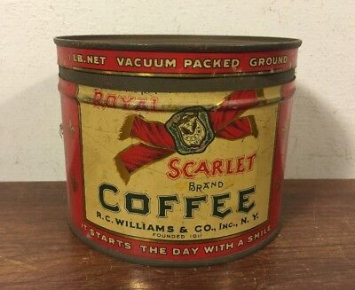 Vintage Rare Royal Scarlet Coffee Tin Can R.C Williams Co NY 1 Lb Keywind