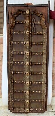 1800c Antique Brass Decorated Hand Made Wooden Indian Fort Vintage Window Door