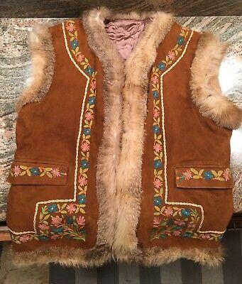 Vintage Leather Embroidered Vest Hippie Floral Suede Genuine Fur 60's 70's retro