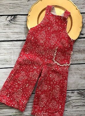 VINTAGE 60s 70s Red  ROMPER OVERALLS retro Girls Outfit