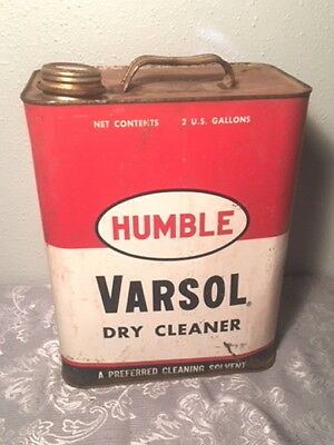 Humble Oil Refinery Varsol Solvent 2 Gallons Can Vintage 1954 Standard Oil