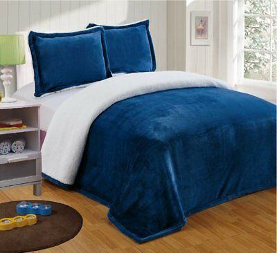 Chezmoi Collection Micromink Sherpa Reversible Throw Blanket King, Navy