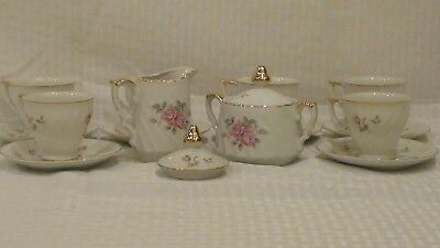 16 Pieces Hand Painted Lefton China Moss Rose Demitasse Tea Set Service For 6