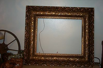 ANTIQUE 1800's Gilt Wood & Gesso PAINTING Picture Large FRAME 31 x 27 Gold Leaf