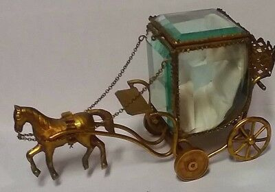 Very Rare Horse & Carriage Antique Ormolu Jewel Casket With Scent Bottle Holder