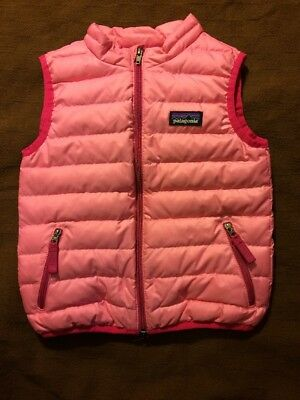 Patagonia Girls 2T Pink and Bright Pink Puffy Vest