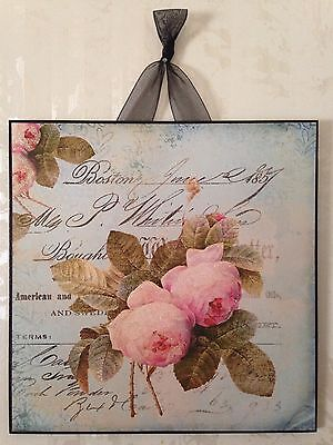 Shabby Roses Wall Decor Sign Plaque French Country Chic