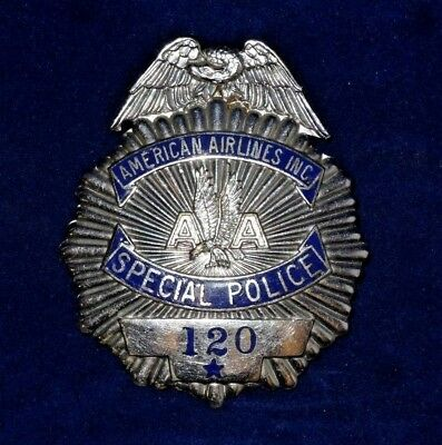 Vintage Obsolete American Airlines Special Police Badge 120 F.G. Clover New York