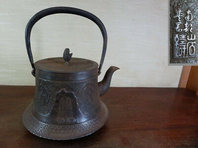 Japanese Antique KANJI old Iron Tea Kettle Tetsubin teapot Chagama 2132