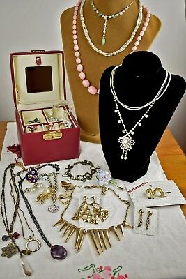 Job Lot of Vintage & Modern Costume Jewellery in Box, includes Unused Pieces