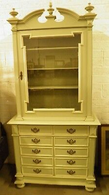 Painted French Antique Bookcase / Cabinet on Chest Farrow & Ball French Grey