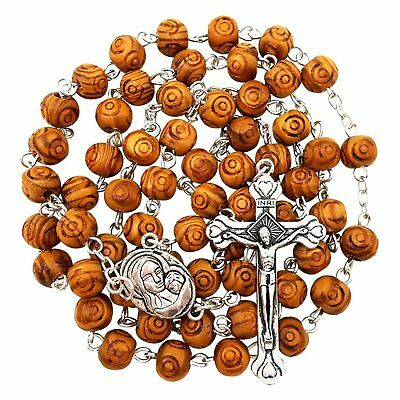 BLESSED CATHOLIC ROSARY NECKLACE Olive Wood Carved Beads With Jerusalem Soil