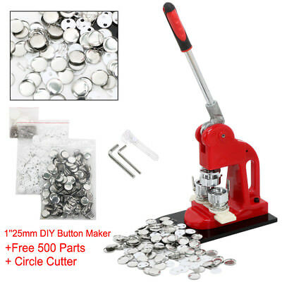 25mm DIY Button Maker Badge Punch Press Machine Free 500 Parts Circle Cutter Red
