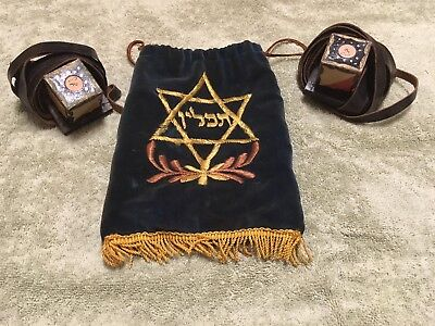 Rare Vintage Antique Jewish Judaica Tefillin Tefilin Phylacteries Boxes Set Pair