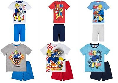 Boys Kids Children Fireman Sam Pyjamas T-Shirt Shorts Set pjs Age 3-8 years