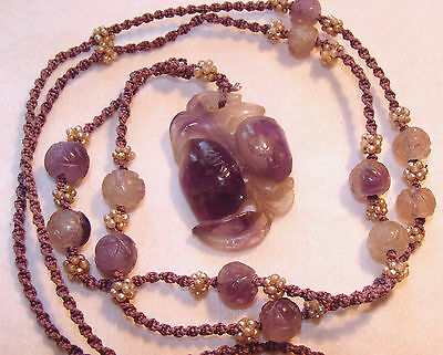 Antique Chinese amethyst necklace carved pendant beads original