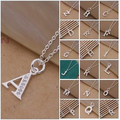 Trend Fashion Lover's Gift Jewelry Silver Letter A to Z Pendant Necklace 925B