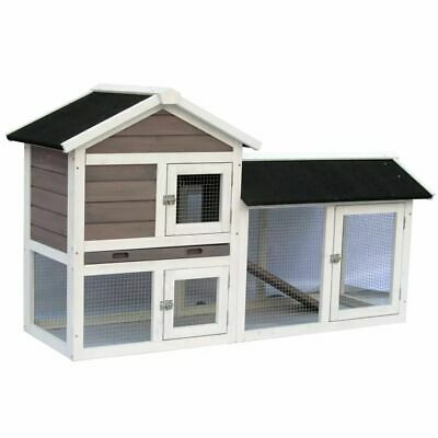 @Pet Rabbit Hutch Bunny Small Animal House Cage Avoriaz White and Brown 20098