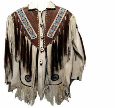 Traditional Mens Fashion Cowboy White Suede Leather Western Jacket Fringes Bead