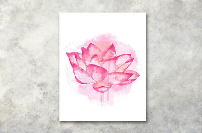 """Modern Home Art Poster Watercolor Lotus Prints Wall Decor Canvas Painting16x20"""""""