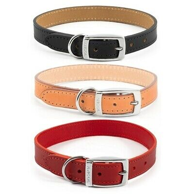 Ancol Heritage Dog Puppy Handsewn Quality Leather Strong Collar - Black Red Tan