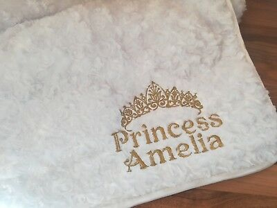 Luxury White Super Soft Princess Baby Blanket Name Dob Personalised Embroidered