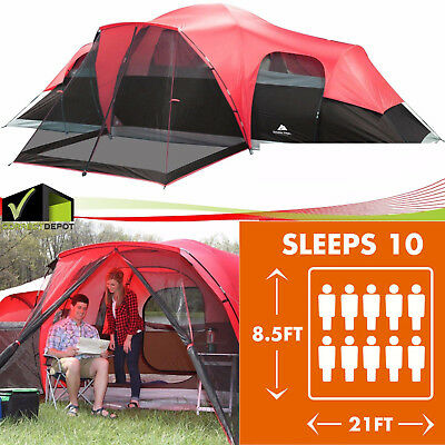 Ozark Trail Large Outdoor Camping Tent Instant Cabin 3 Room 10 Person Family