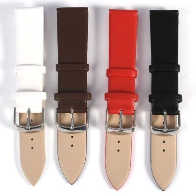 Black Brown White Red Genuine Leather Watch Strap Band Sizes 14,16,18,20,22,24mm
