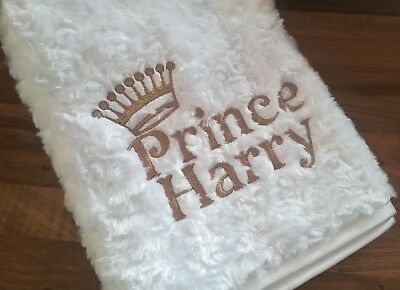 Luxury White Cream Prince / Princess Baby Blanket Name Personalised Embroidered