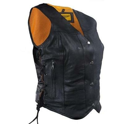 Women's Cowhide Leather Motorcycle Vest With Gun Pocket- Black