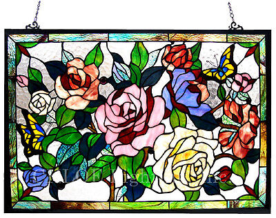 """Butterfly & Roses Floral Tiffany Style Stained Glass Window Panel 27"""" x 19"""""""