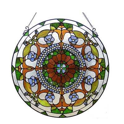 """24"""" Round Victorian Tiffany Style Handcrafted Stained Cut Glass Window Panel"""